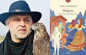 Feri Lainšček in naslovnica romana Halgato v fran.