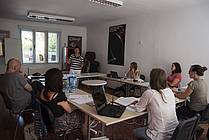 The workshop with mentors Matthias Göritz, Rosemarie Linde and writer Barbara Simoniti