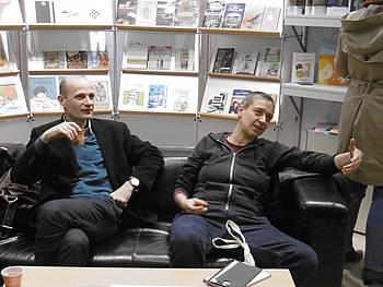 Dušan Šarotar in Anja Golob na stojnici JAK na knjižnem sejmu v Leipzigu 2015