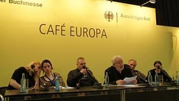 Sebastijan Pregelj, Lado Kralj in Stanka Hrastelj v programu SO Übersetzen s Petrom Scherberjem, Ann Catrin Apstein-Müller in Tanjo Petrič