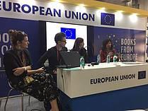 Mednarodna promocija otroške literature in njenih avtorjev - R. Zamida (JAK), Palle Schmidt (Danska), Manica K. Musil in Senja Požar (Mladinska knjiga)