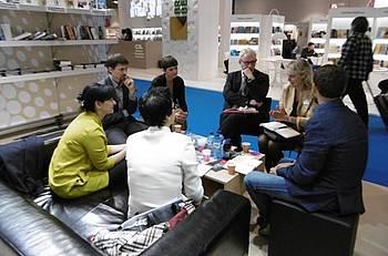 Sestanek z založniki na slovenski stojnici v Frankfurtu 2014