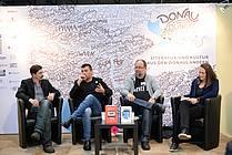 Pogovor s pisateljema Dinom Baukom in Andrejem Skubicem na sejmu