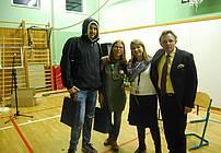 Po nastopu smo se zbrali Rok Terkaj, mentorica Cvetka Bevc, strokovna sodelavka Marija Krebelj in dr. Igor Saksida.