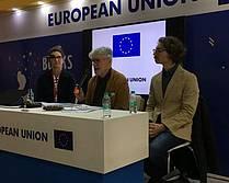 Knjižni sejem v Indiji - direktorica JAK Renata Zamida, predsednik DSP Ivo Svetina in Andrej Hočevar