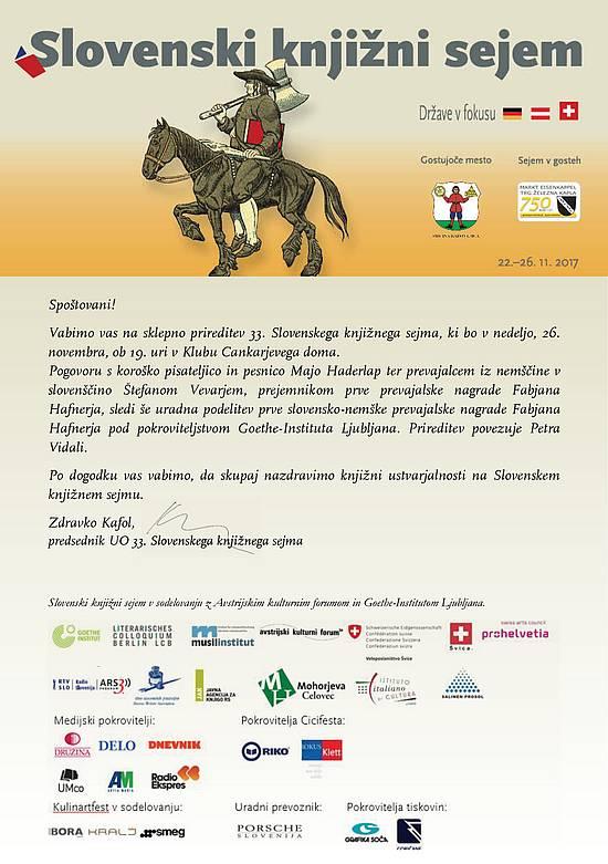 Vabilo na podelitev nagrade Fabjana Hafnerja