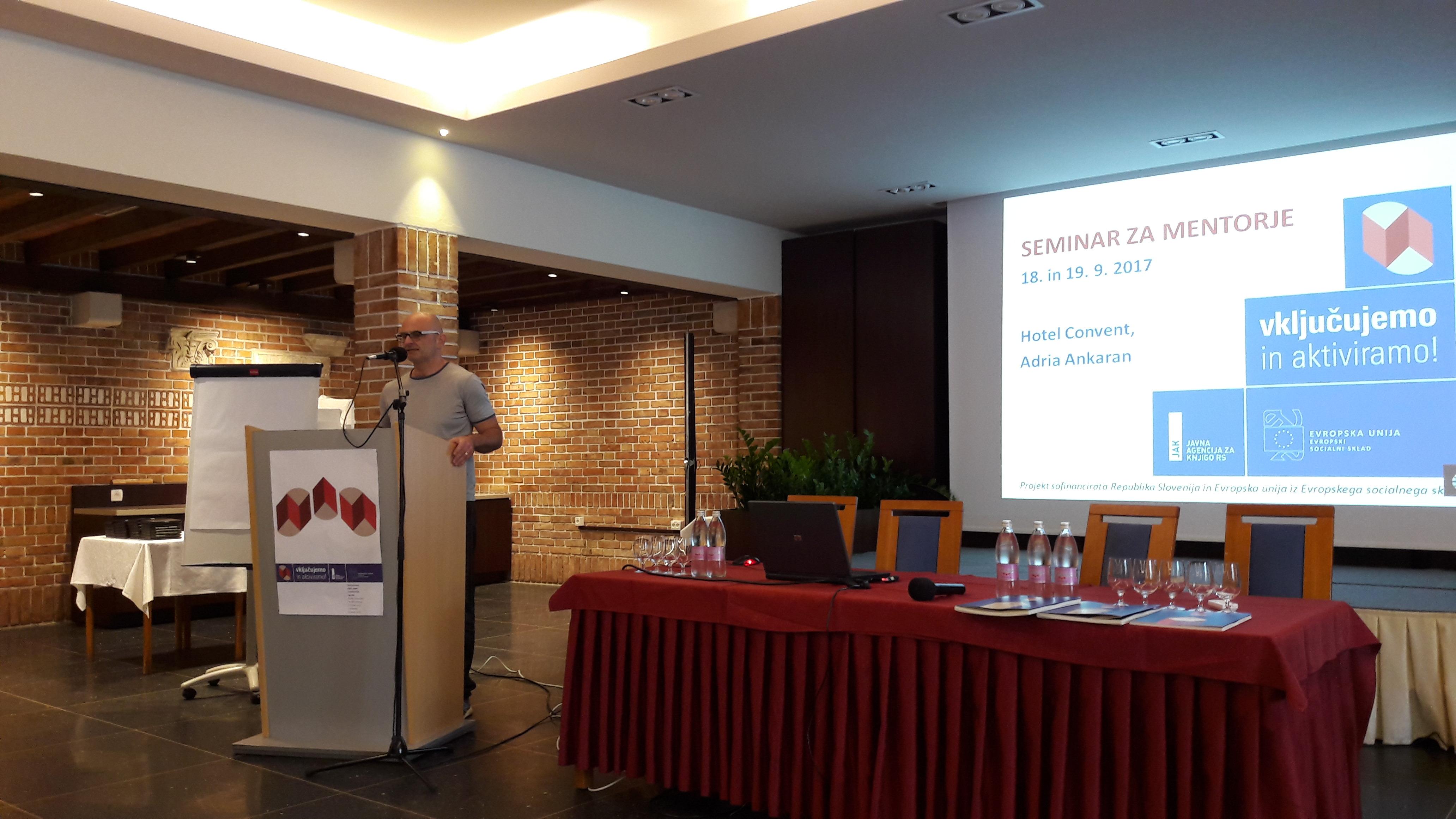 Urban Vovk na seminarju za mentorje ViA 2018