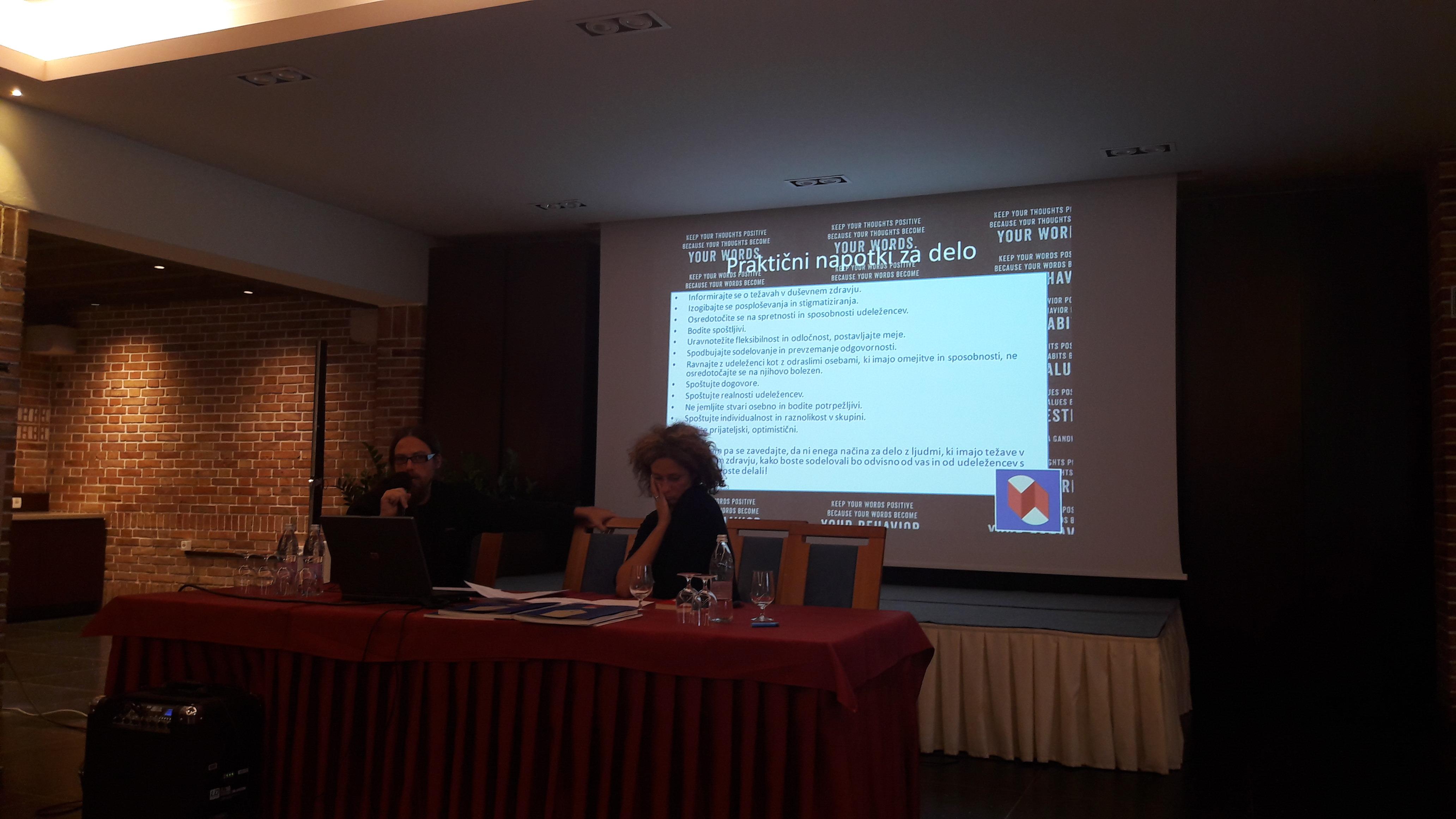 Tilen Recko in Andreja Vučak na seminarju za mentorje ViA 2018